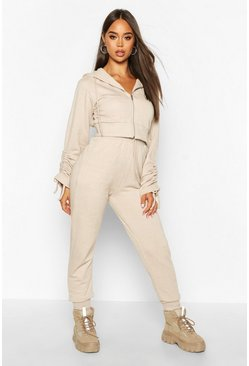 Stone Ruched Sleeve Zip Through Crop Tracksuit