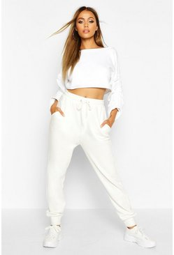 Dam White Ruched Sleeve Crop Sweatshirt