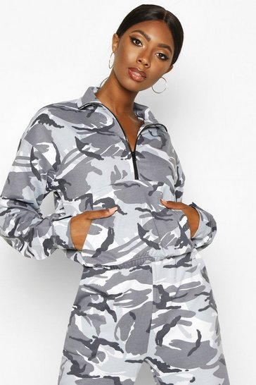Womens Silver Camo Print Zip Front High Neck Sweat