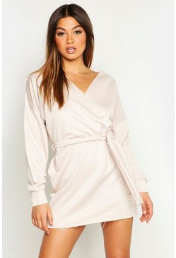 Womens Ecru Belted Wrap Detail Sweat Dress