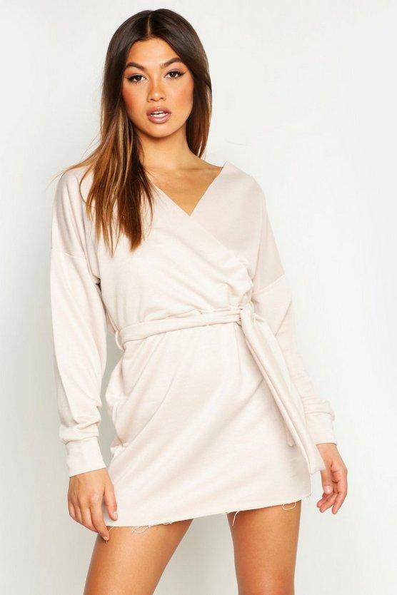 Belted Wrap Detail Sweat Dress