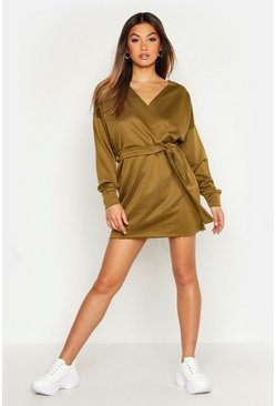 Womens Khaki Belted Wrap Detail Sweat Dress