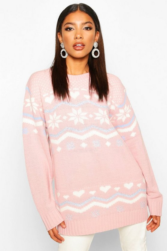 Blush Christmas Fairisle Knitted Jumper