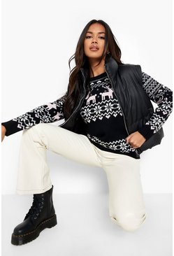 Womens Black Christmas Fairisle Knitted Jumper