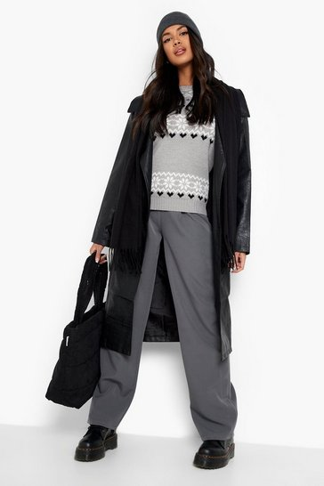 Womens Grey Christmas Fairisle Knitted Jumper