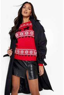Christmas Fairisle Knitted Jumper, Red, Donna