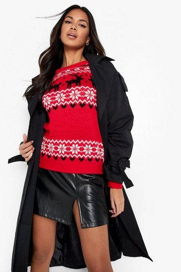 Womens Red Christmas Fairisle Knitted Jumper