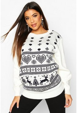 Cream Knitted Fairisle Christmas Jumper