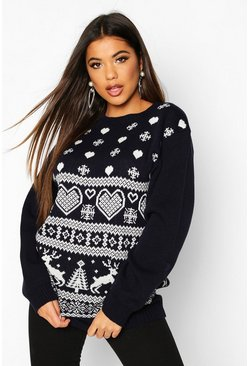 Navy Knitted Fairisle Christmas Jumper
