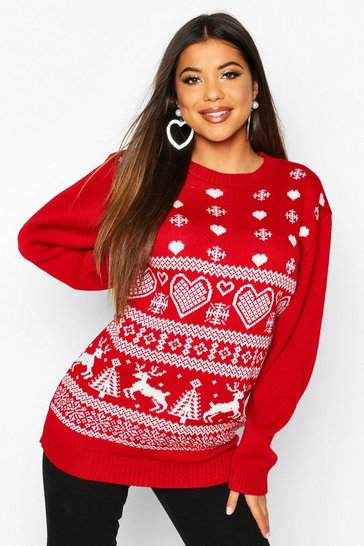 Womens Red Knitted Fairisle Christmas Jumper