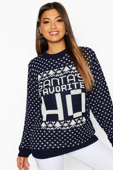 Navy Santa's Favourite Novelty Slogan Christmas Jumper