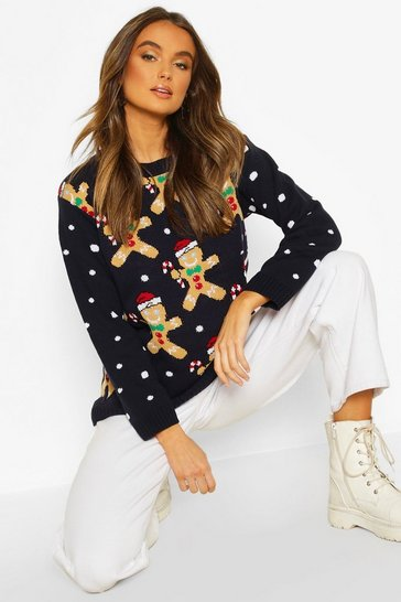 Navy Gingerbread Man Novelty Christmas Jumper