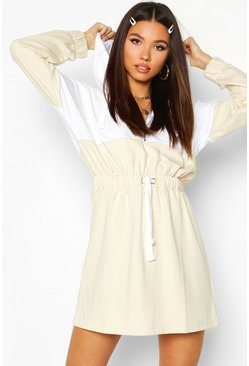 Hooded Zip Detail Sweat Dress, Sand, Donna