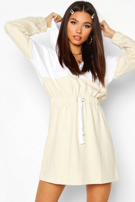 Hooded Zip Detail Sweat Dress by Boohoo