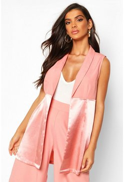 Womens Apricot Satin Mix Sleeveless Longline Blazer