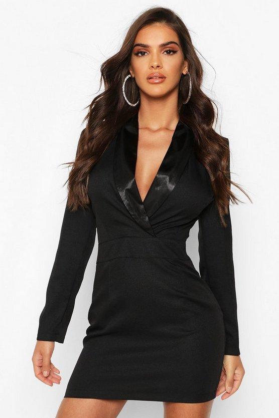 Satin Mix Fitted Blazer Dress