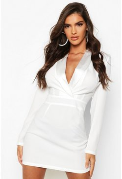 White Satin Mix Fitted Blazer Dress