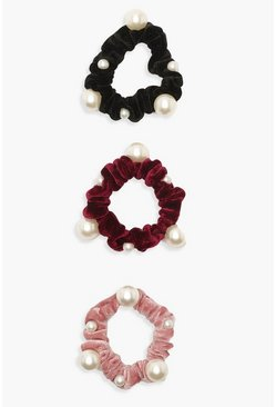 Dam Multi Pearl Velvet Scrunchie 3 Pack