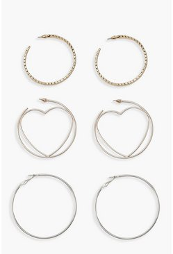 Womens Multi Heart And Textured Hoop Pack
