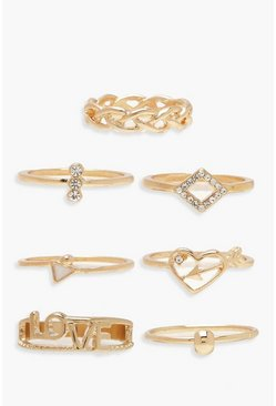Womens Gold LOVE Stack Ring Pack