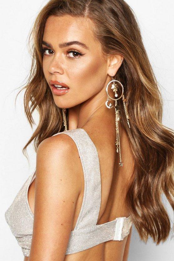 Diamante Circle Sun & Moon Drop Earrings