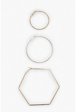 Womens Multi Hexagon And Hoop Mixed Metal Earring Pack