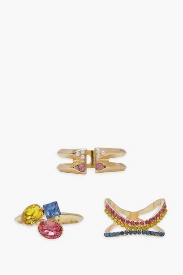 Womens Gold Multi Stone And Pearl Ring Pack