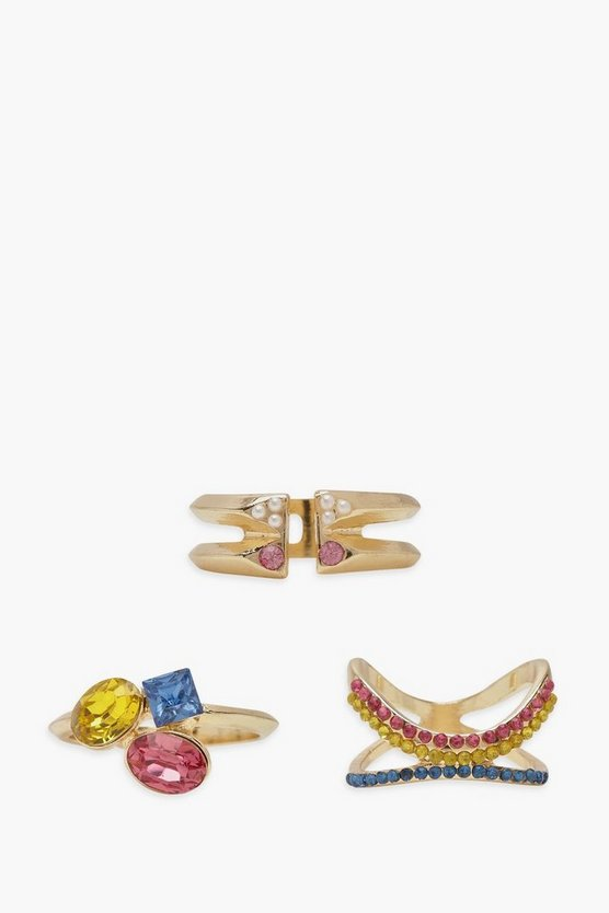 Multi Stone And Pearl Ring Pack