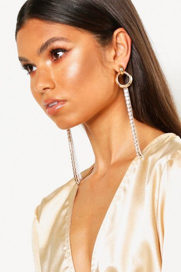 Womens Gold Chunky Ring And Diamante Drop Earrings