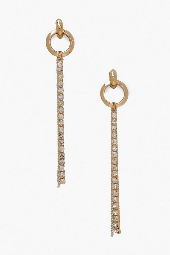 Chunky Ring And Diamante Drop Earrings
