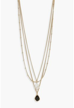Womens Gold Pearl And Enamel Pendant Layered Necklace