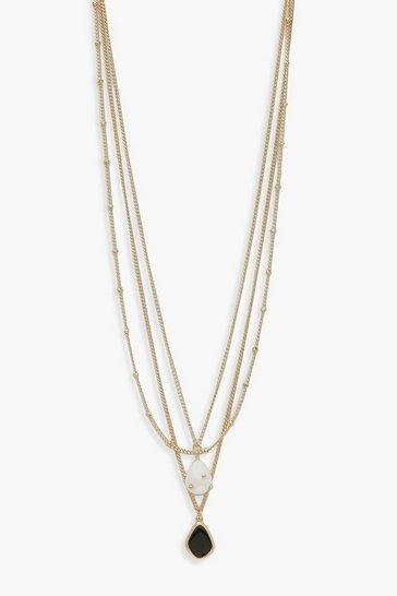 Gold Pearl And Enamel Pendant Layered Necklace