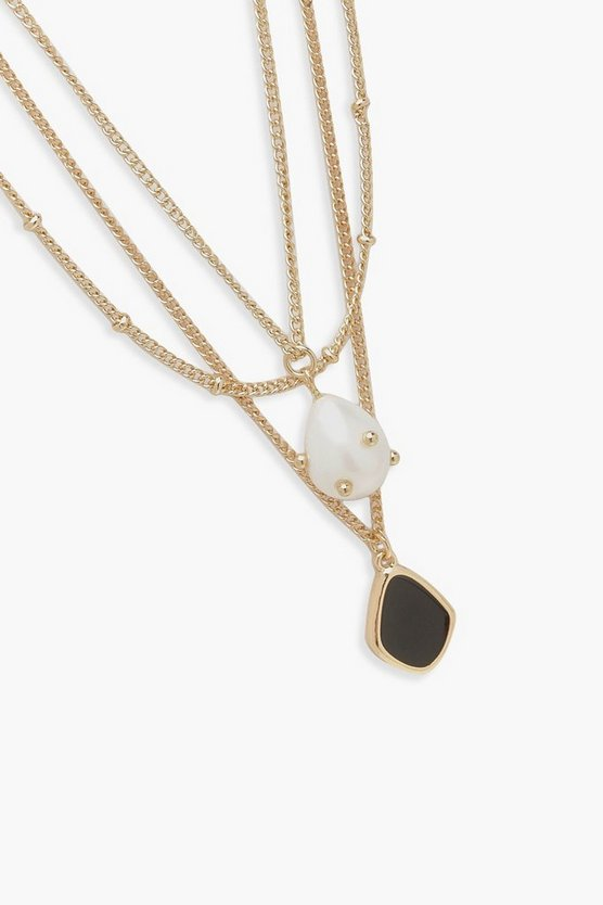 Pearl And Enamel Pendant Layered Necklace