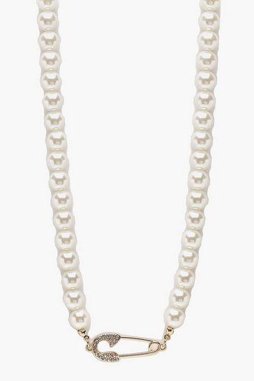 Womens Cream Pearl And Diamante Safety Pin Choker
