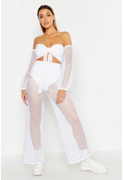 Womens White Tie Front Fishnet Pants Co-Ord