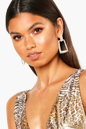Womens Gold Diamante Textured Statement Earring