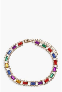 Womens Gold Rainbow Jewel & Diamante Choker