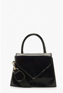 Patent Envelope Structured Mini Grab Bag, Black, Donna