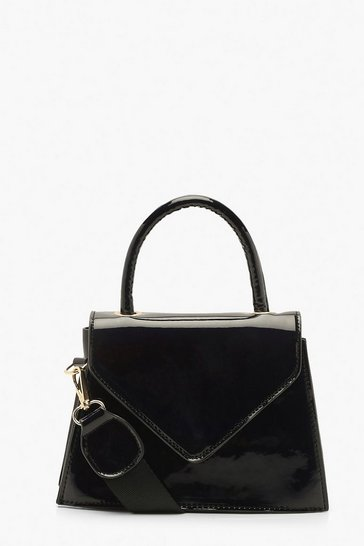 Womens Black Patent Envelope Structured Mini Grab Bag