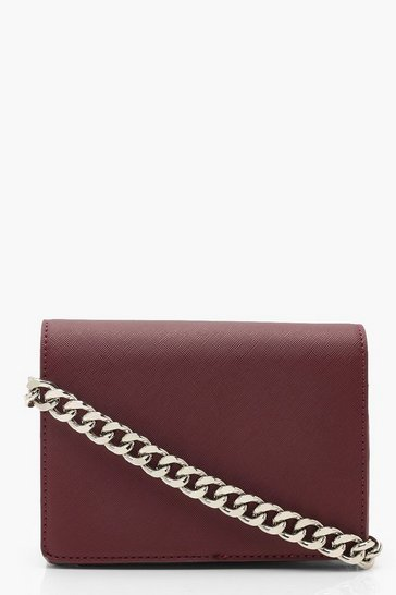 Womens Berry Chunky Chain Hatch Cross Body Bag