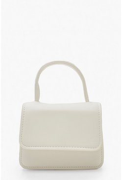 Womens White Micro Mini Handle Grab Bag