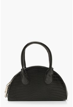 Dam Black Croc Half Moon Grab Bag & Chain