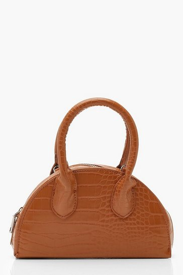 Womens Tan Croc Half Moon Grab Bag & Chain
