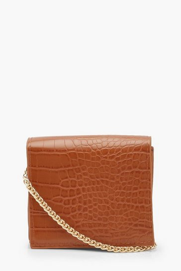 Womens Tan Faux Croc Micro Mini Cross Body Bag