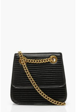 Dam Black Chain Structured Micro Mini Cross Body Bag