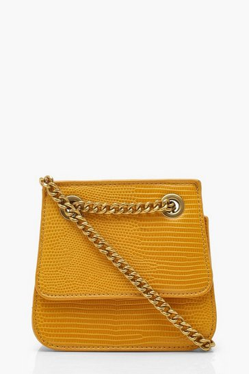 Womens Mustard Chain Structured Micro Mini Cross Body Bag