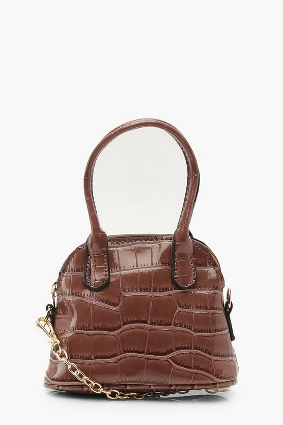 Womens Mink Croc Mini Handle Grab Bag