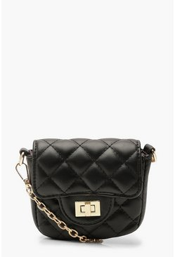 Dam Black Quilted Micro Mini Chain Cross Body Bag