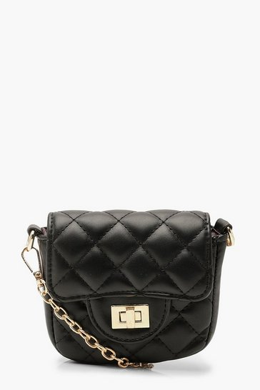 Womens Black Quilted Micro Mini Chain Cross Body Bag