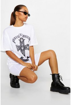 Womens White Guns N Roses Licensed T-Shirt Dress
